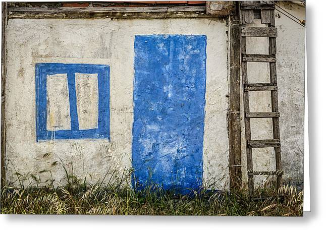Entrance Door Greeting Cards - Fake Blue Door Greeting Card by Marco Oliveira