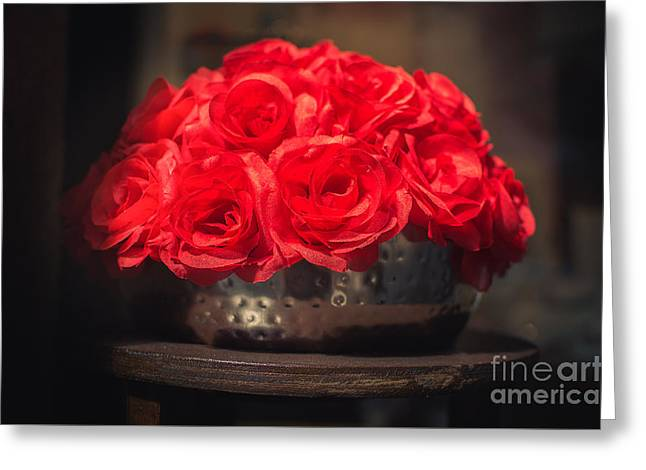 Fake Red Roses In Shadows On A Metallic Pot  Greeting Card by Luca Lorenzelli