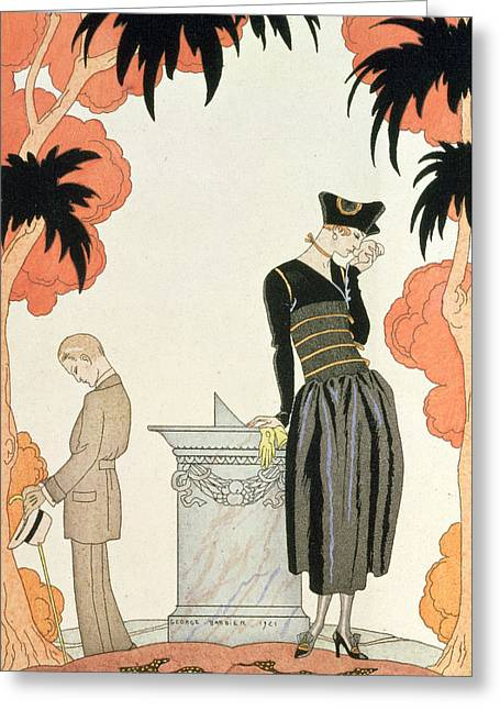 Twentieth Century Drawings Greeting Cards - Falbalas et fanfreluches Greeting Card by Georges Barbier