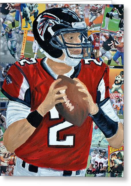 Offense Mixed Media Greeting Cards - Falcons Quater Back Greeting Card by Michael Lee