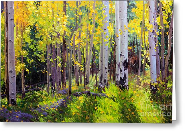 Mountains New Mexico Greeting Cards - Fall Aspen Forest Greeting Card by Gary Kim
