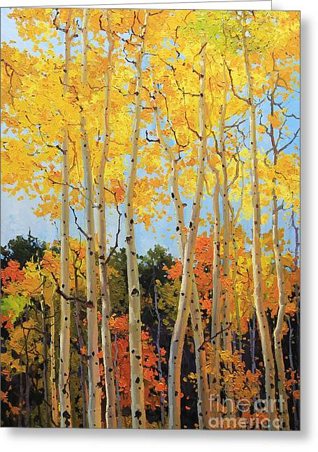 Vibrant Greeting Cards - Fall Aspen Santa Fe Greeting Card by Gary Kim