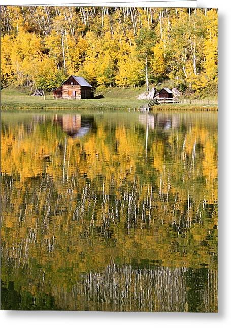 Mountain Cabin Greeting Cards - Fall By The Lake Greeting Card by Angie Wingerd