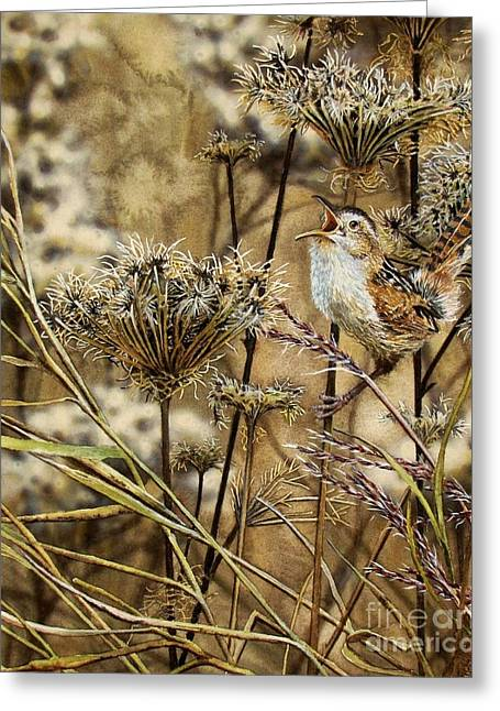 Bird Singing Greeting Cards - Fall Call Greeting Card by Greg Halom