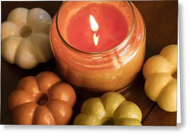 Candle Lit Greeting Cards - Fall Candle and Holders Greeting Card by Malisa Nicolau