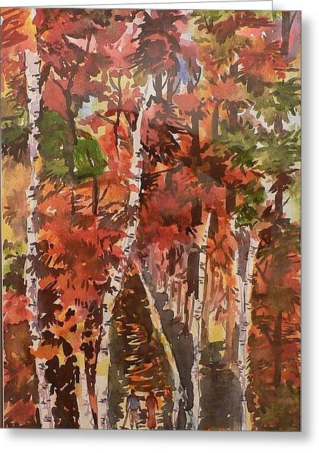Canvasprint Greeting Cards - Fall colors Greeting Card by Geeta Biswas