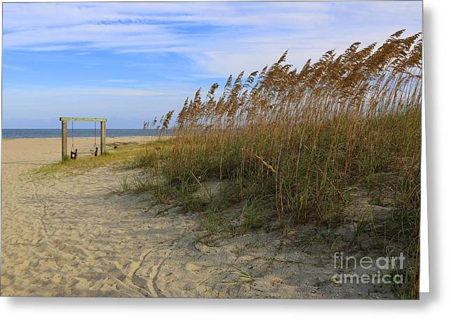 Sandy Beaches Greeting Cards - Fall Day on Tybee Island Greeting Card by Carol Groenen