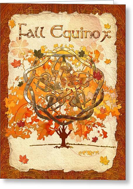 Pentagram Art Greeting Cards - Fall Equinox 3D Folk Art Greeting Card by Sharon and Renee Lozen