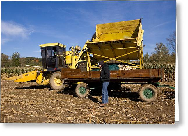 Corn Picker Greeting Cards - Fall Farming Greeting Card by Tim  Fitzwater