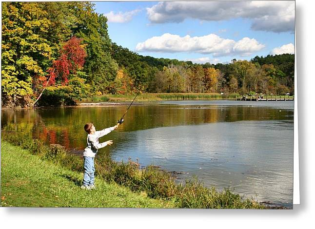 Kendall Greeting Cards - Fall Fishing Greeting Card by Kristin Elmquist