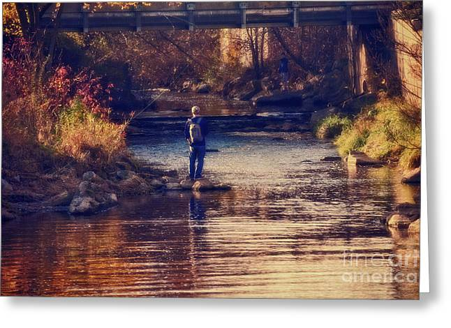 Fall Fishing - Version 2 Greeting Card by Mary Machare
