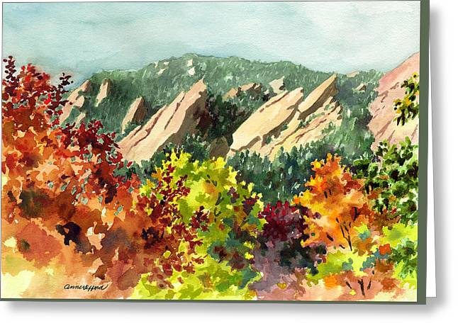Red Leaf Greeting Cards - Fall Flatirons Greeting Card by Anne Gifford