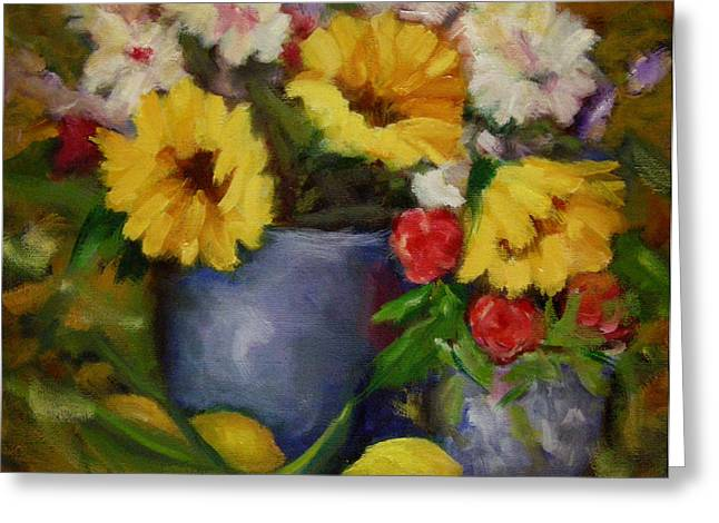 Fall Flower Still-life Greeting Card by Linda Hiller