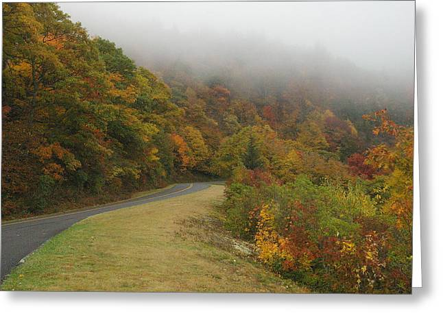 Fall Fog On The Blue Ridge Parkway Greeting Card by Cindy Hicks