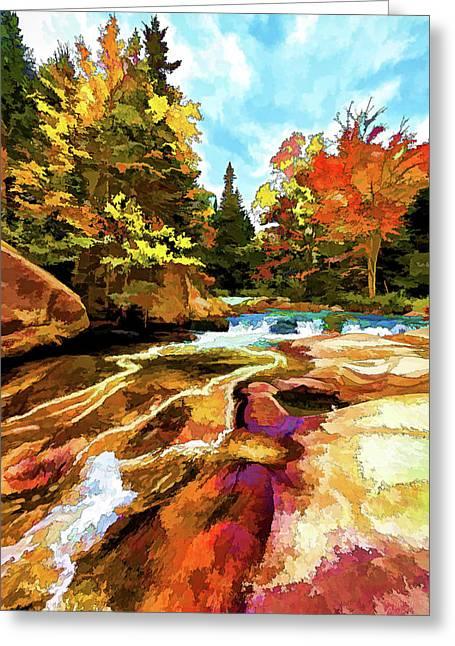 Ledge Greeting Cards - Fall Foliage at Ledge Falls 1 Greeting Card by Bill Caldwell -        ABeautifulSky Photography