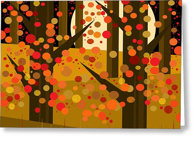 Fall Trees Digital Art Greeting Cards - Fall Forest - Night Greeting Card by Val Arie