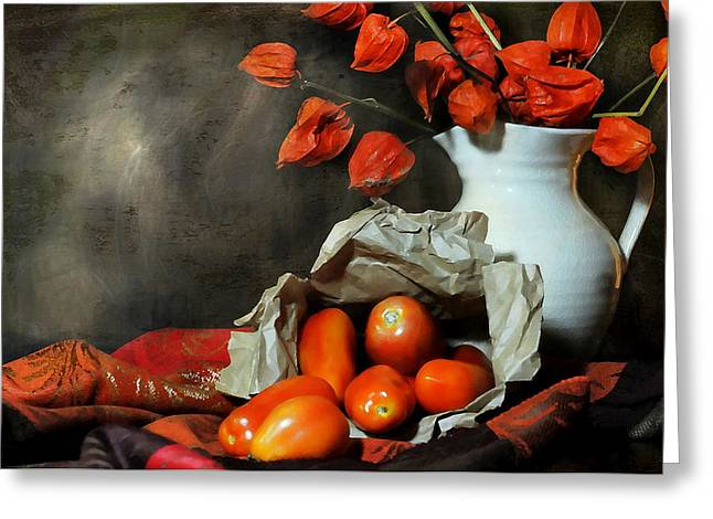 Still Life With Pitcher Greeting Cards - Fall Forward Greeting Card by Diana Angstadt