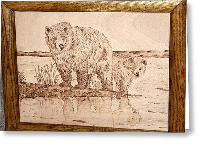 Stream Pyrography Greeting Cards - Fall Grizzly and Cub Greeting Card by Angel Abbs-Portice