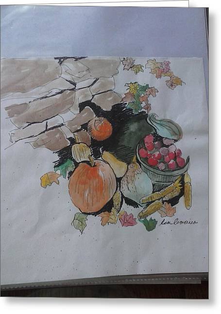 Pumpkins Tapestries - Textiles Greeting Cards - Fall Harvest Greeting Card by Lisa LaMonica