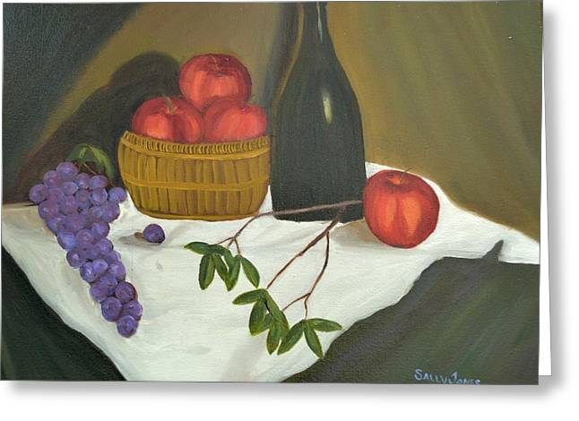 Still-life With A Basket Greeting Cards - Fall Harvest Still Life with Bottle of Wine Greeting Card by Sally Jones