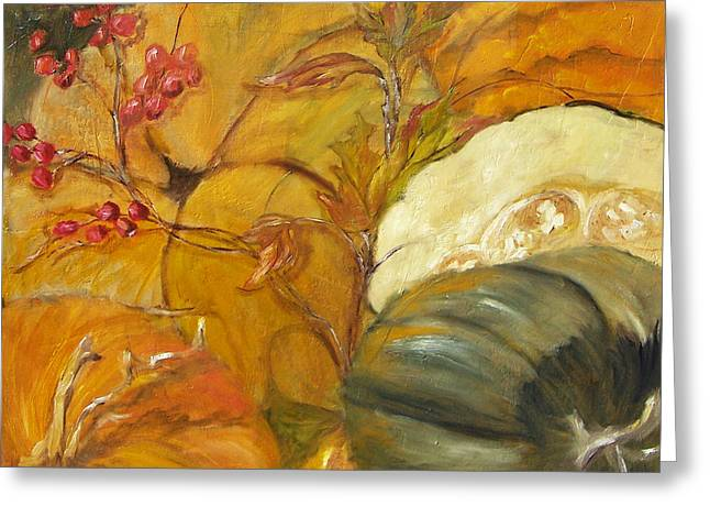Pumpkins Mixed Media Greeting Cards - Fall Harvest Greeting Card by Suzanne Kfoury