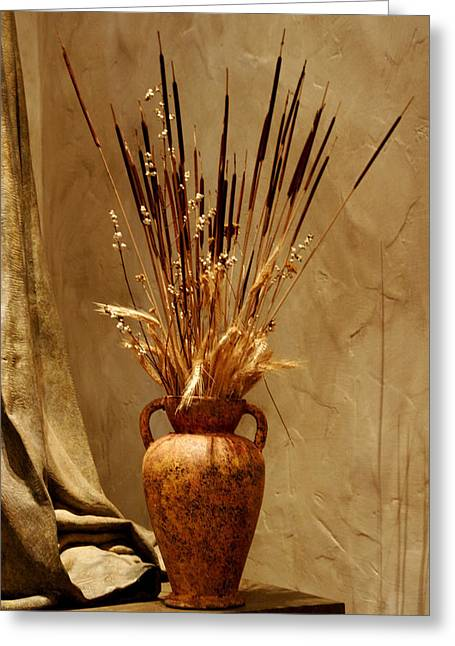 Still Lifes Greeting Cards - Fall in a Vase Still-Life Greeting Card by Christine Till