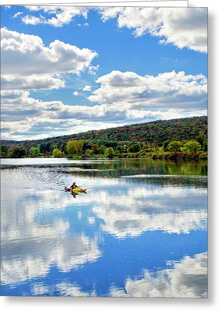 White River Scene Greeting Cards - Fall Kayaking Reflection Landscape Greeting Card by Christina Rollo