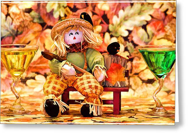 Table Wine Greeting Cards - Fall leaves and drivks Greeting Card by Geraldine Scull