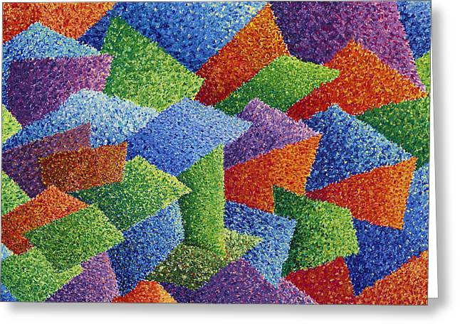 Abstract Geometric Pastels Greeting Cards - Fall Leaves on Grass Greeting Card by Sean Corcoran