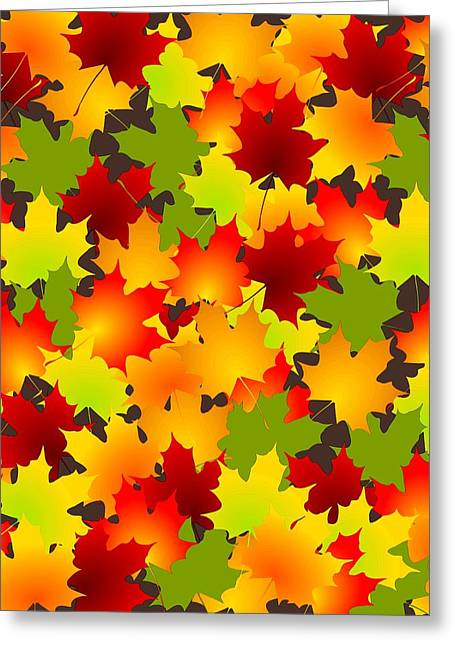 Fall Leaves Quilt Greeting Card by Anastasiya Malakhova