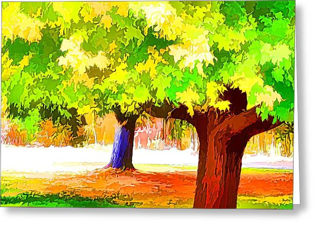 Fall Leaves Trees 1 Greeting Card by Lanjee Chee