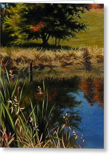 Trees Reflecting In Water Paintings Greeting Cards - Fall Greeting Card by Lydia Martin