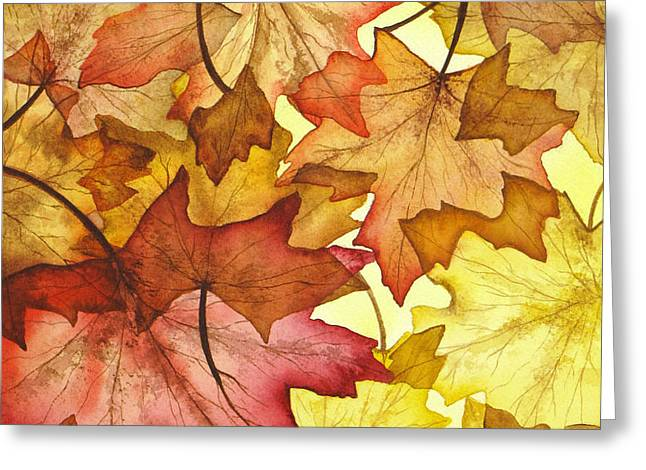 Fall Maple Leaves Greeting Card by Christina Meeusen