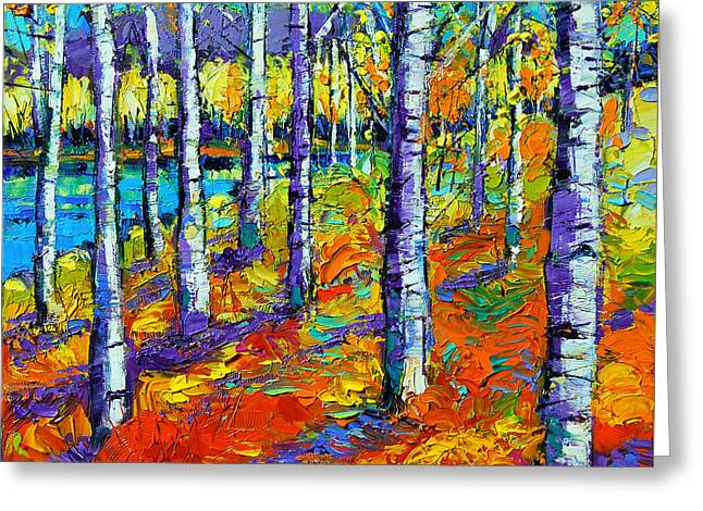 Trees Forest Paintings Greeting Cards - Fall Mood Greeting Card by Mona Edulesco