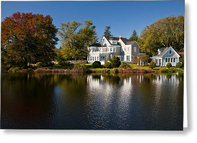 Fall on Argyle Lake in Babylon Village Greeting Card by Vicki Jauron