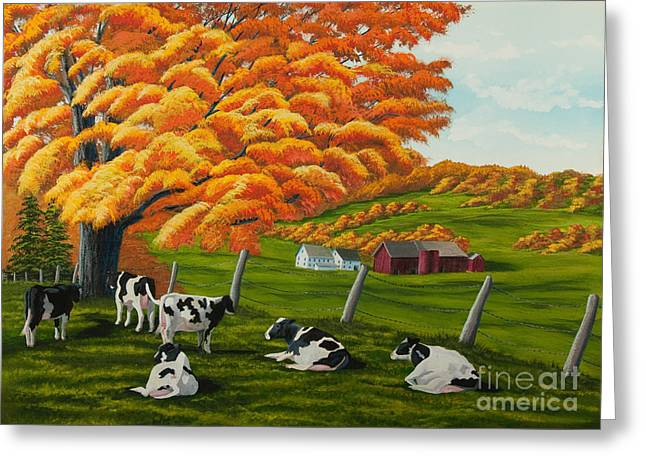 Upstate Paintings Greeting Cards - Fall on the Farm Greeting Card by Charlotte Blanchard