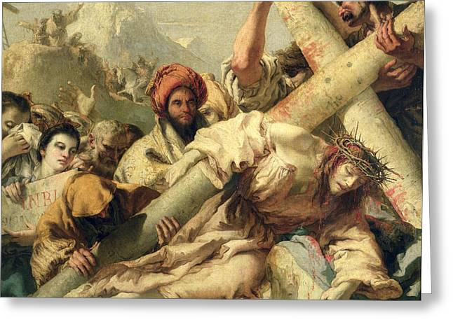 Sacrifice Greeting Cards - Fall on the way to Calvary Greeting Card by G Tiepolo
