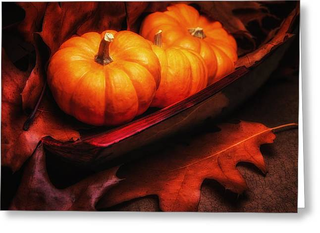 Wooden Bowl Greeting Cards - Fall Pumpkins Still Life Greeting Card by Tom Mc Nemar