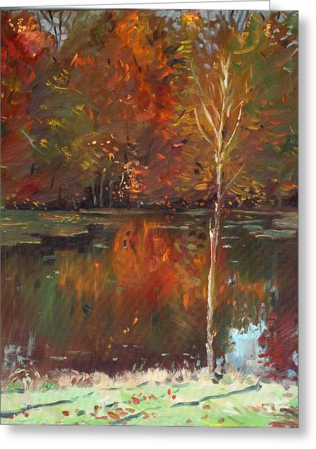 Autumn Landscape Paintings Greeting Cards - Fall Reflection Greeting Card by Ylli Haruni