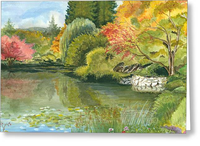 Reflection In Water Greeting Cards - Fall Reflections Butchart Gardens Greeting Card by Vidyut Singhal