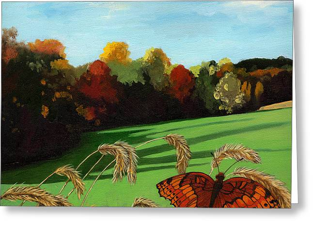 Fall Scenes Greeting Cards - Fall scene of Ohio nature painting Greeting Card by Linda Apple