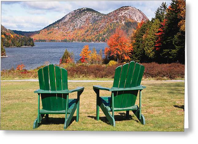 Jordan Pond Greeting Cards - Fall Scenic with  Adirondack Chairs at Jordan Pond Greeting Card by George Oze