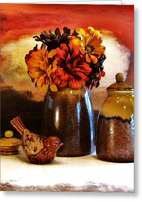 Photos Of Autumn Digital Greeting Cards - Fall Still Life Greeting Card by Marsha Heiken