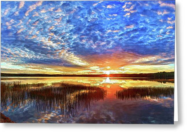 Maine Landscape Greeting Cards - Fall Sunset at Round Lake Panorama Greeting Card by Bill Caldwell -        ABeautifulSky Photography