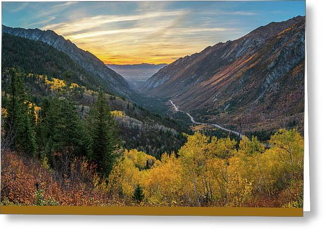 Fall Sunset In Little Cottonwood Canyon Greeting Card by James Udall