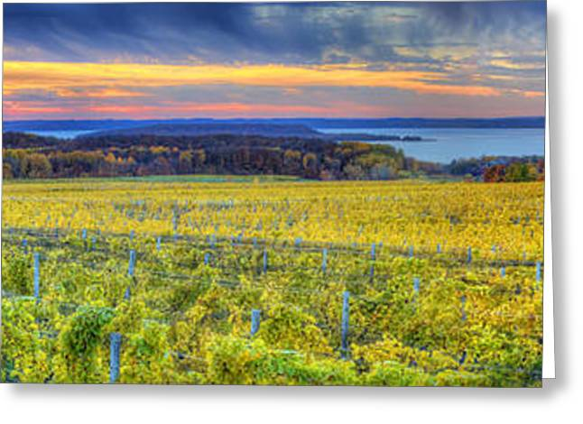 Traverse Greeting Cards - Fall Sunset on Old Mission Greeting Card by Twenty Two North Photography
