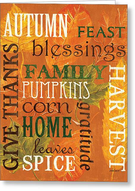 Gratitude Greeting Cards - Fall Typography 1 Greeting Card by Debbie DeWitt