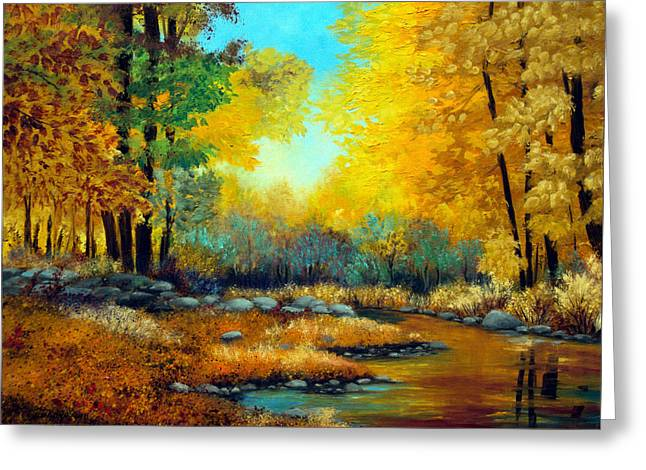 Stonewall Greeting Cards - Fall Woods Stream  Greeting Card by Laura Tasheiko