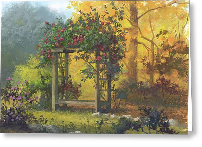 Trellis Paintings Greeting Cards - Fall Yellow Greeting Card by Michael Humphries
