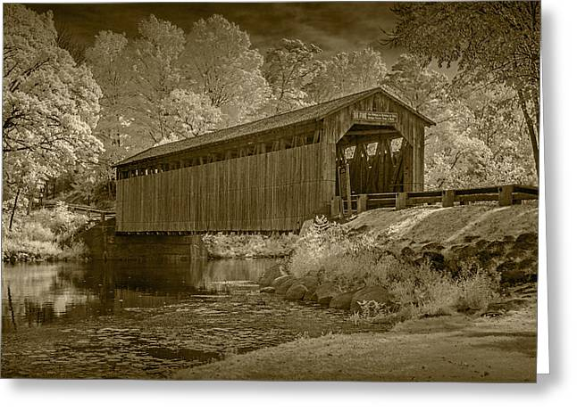 Old Roadway Greeting Cards - Fallasburg Covered Bridge in Infrared and Sepia Greeting Card by Randall Nyhof
